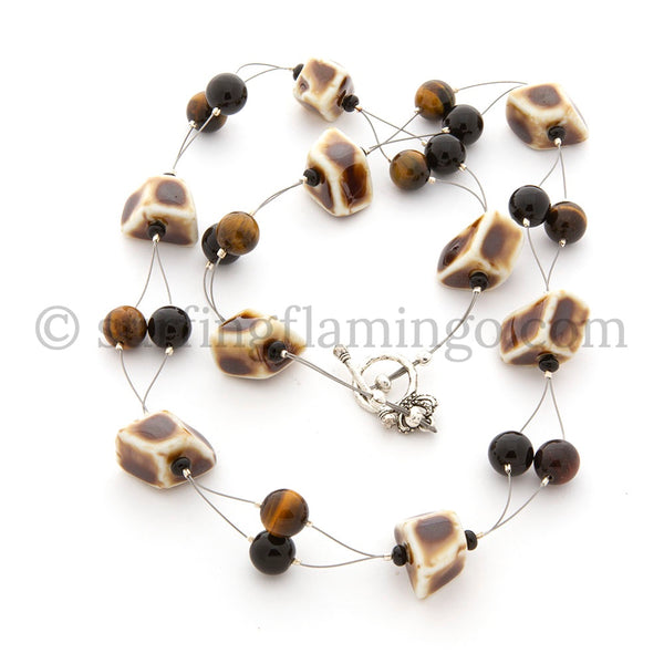 Chocolate Dreams - Ceramic, Tiger Eye and Agate Necklace