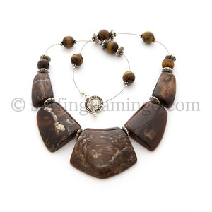 Mocha Swirl - 5 Piece Lucite Necklace