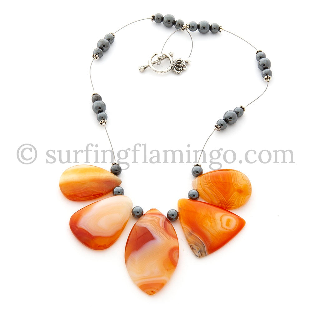 Sunrise - 5 Piece Orange Crazy Agate Pendant