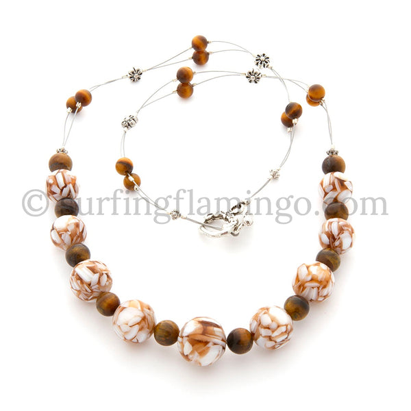 Butterscotch Swirls –  Beaded Swirls and Tiger Eye Necklace