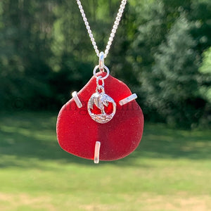 Rare Red Sea Glass Wraped in Argentium Silver
