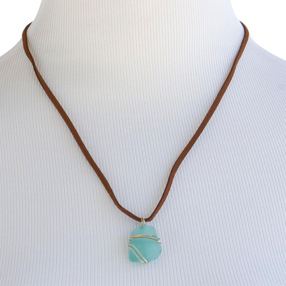 Blue beach glass glass pendant leather necklace tumbled blue wire wrapped beach glass necklace mozeypictures Image collections