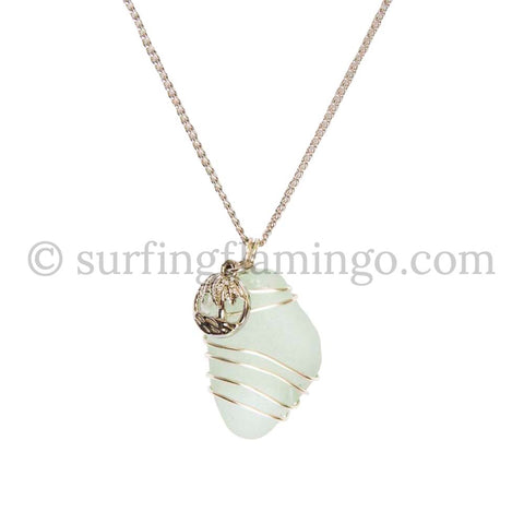 Wire Wrapped Frosted White Beach Glass With Palm Tree Charm and Chain