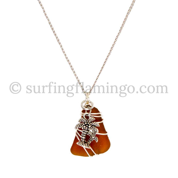 Brown Wire Wrapped Beach Glass With Palm Tree Charm and Chain