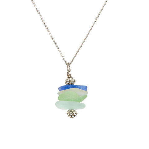 Stacked Sea Glass Necklace on White Display Background
