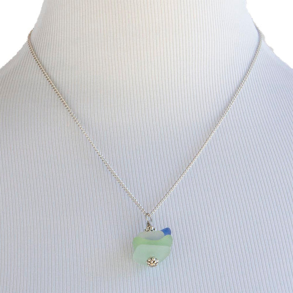 Stacked Sea Glass Necklace, Drilled Sea Glass Pendant