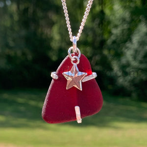 Rare Red Sea Glass Wraped in Argentium Silver with Star Charm