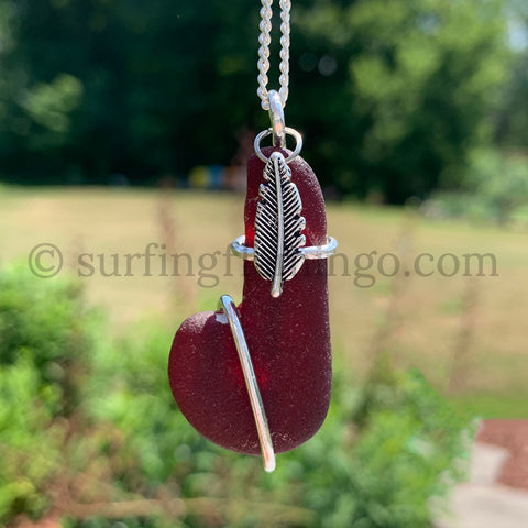Unique and Rare Red Sea Glass Wraped in Argentium Silver