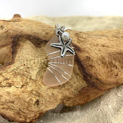 Light Peach Frosted Sea Glass With Starfish Charm