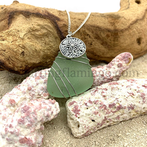 Green Frosted Sea Glass With Sand Dollar Charm