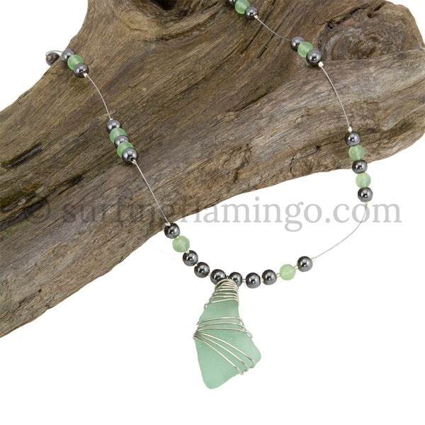Sea Glass Necklace with Hematite and New Jade Beads