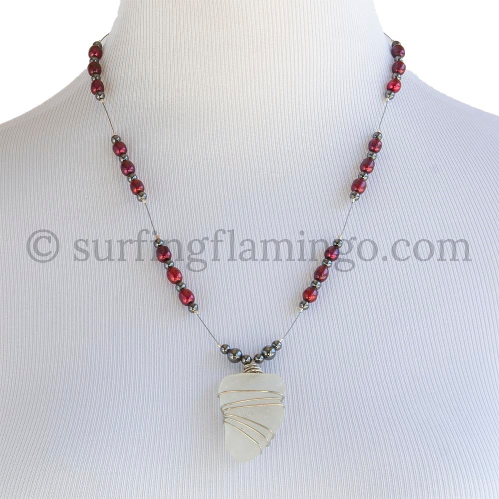 Burgundy Pearls And Sea Glass Necklace