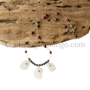 Sea Glass And Burgundy Freshwater Pearl Necklace