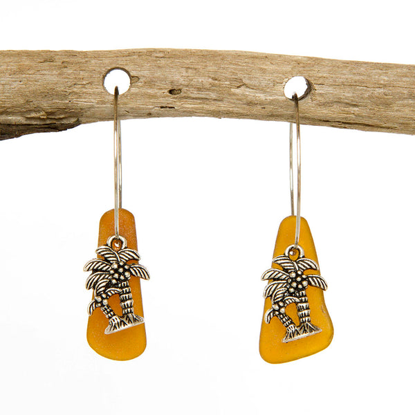 Sea Glass Hoop Earrings With Palm Tree Charms