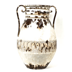 CLASSICAL GREECE AND ROME STYLE METAL VASE, CURVED HANDLES, RUSTIC WHILE. SMALL