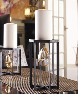 Metal Gem Design Pillar Candle Holder (Large)