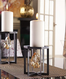 Metal Gem Design Pillar Candle Holder (Small)