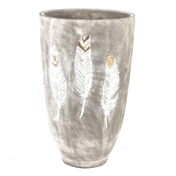 CEMENT FLOWER VASE WITH FEATHER