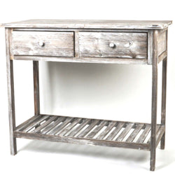 VINTAGE STYLE KITCHEN/ CONSOLE WOODEN TABLE, TWO DOVETAIL DRAWERS, GREY WASHED