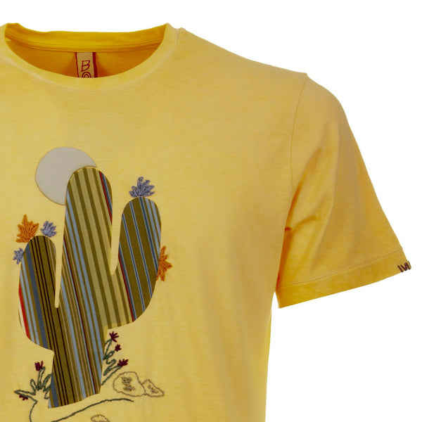 Bob Cactus Ready T-Shirt Uomo, Cotone, Girocollo, Giallo, bassiniboutique.it