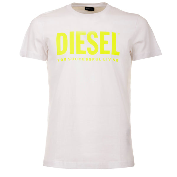 Diesel T-shirt T-Sily-WX Unisex, Cotone, Stampa e Slogan PVC, Bianco, bassiniboutique.it