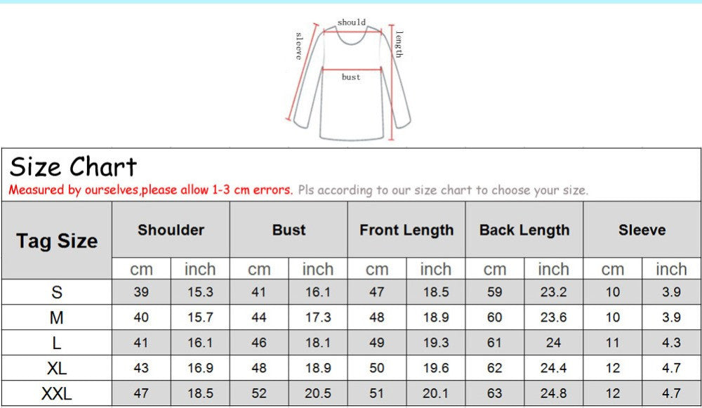 3D Cool Cat T-Shirt Size Chart