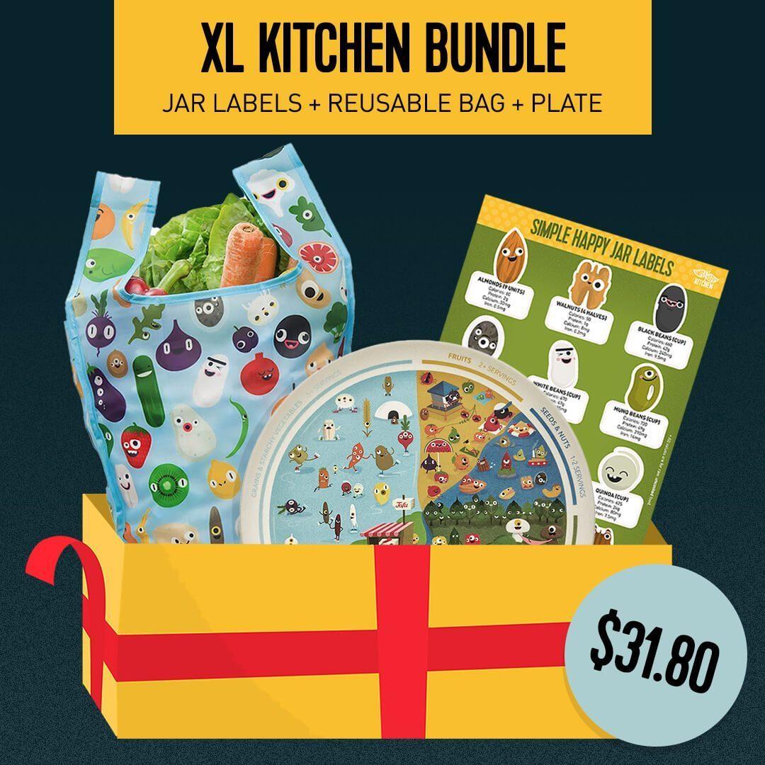 Bundle - XL Kitchen Bundle: Jar Labels + Reusable Bag + Meal Planner Plate