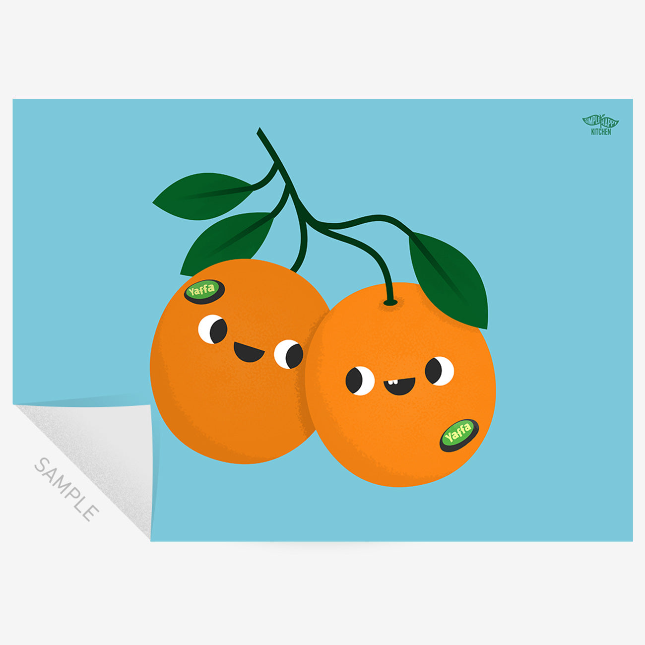 Two illustrated oranges looking at each other