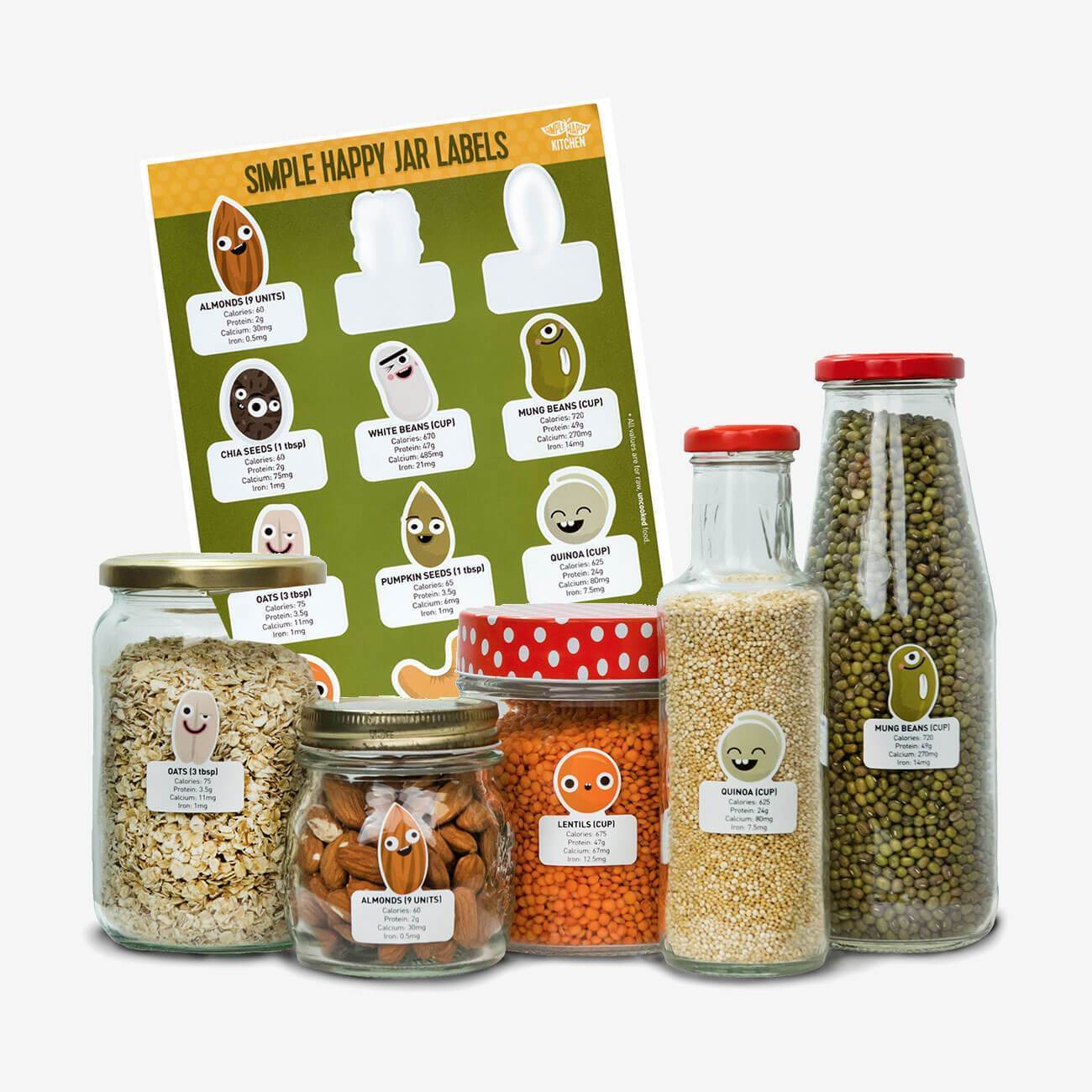 Stickers - 12 Cute Jar Labels Set With Nutrition Values Of Nuts, Legumes And Grains