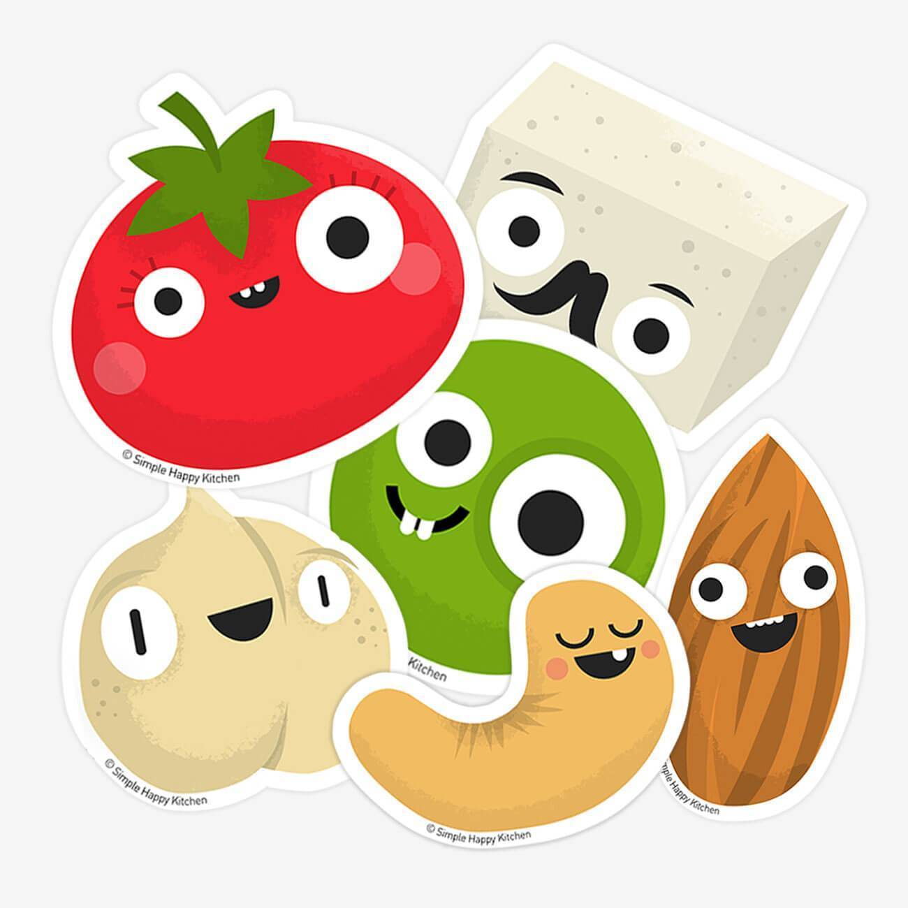 Stickers - Vegan Foods Sticker Pack Of 6