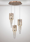 DIYAS IL31626 CAMDEN 3 LIGHT ROUND PENDANT ROSE GOLD