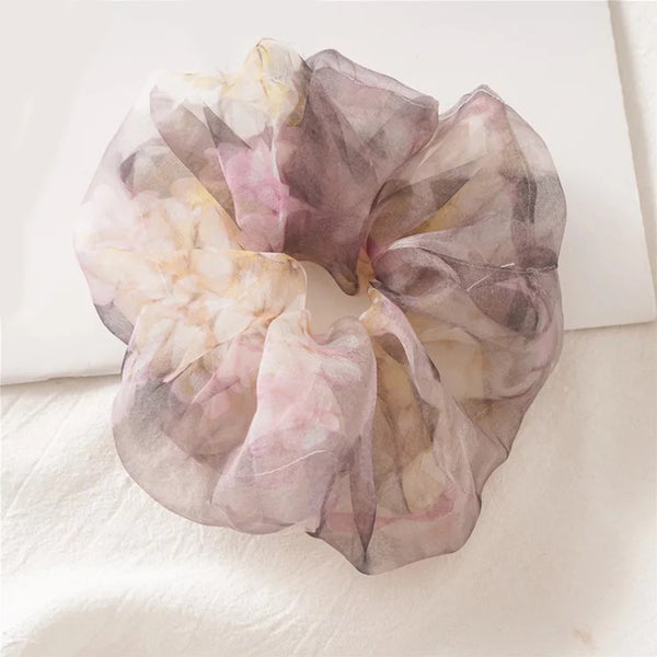 LNH Plum On Over Organza Scrunchies