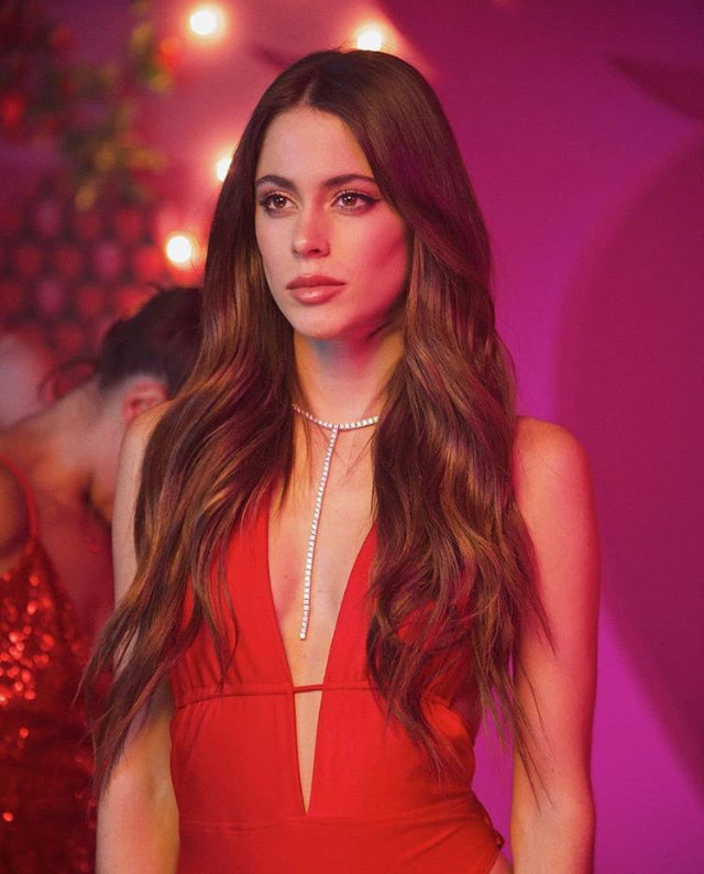Tini in custom LNH Red Bodysuit for her music video Fresa