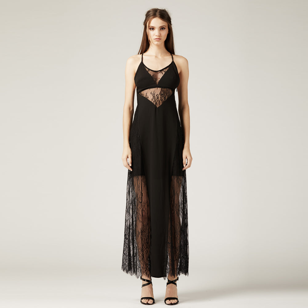 Black Lace Slip Dress