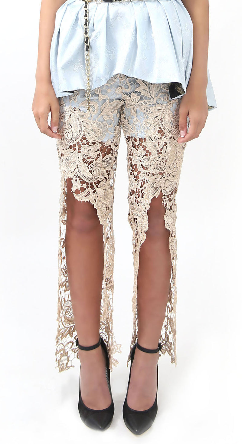 Gold Lace Pants - Lisa N. Hoang