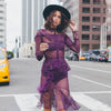 Purple Chiffon and Lace Dress