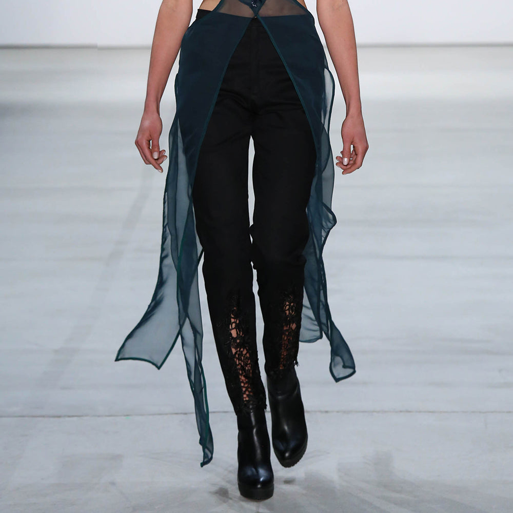 Black Trousers with Lace Inserts