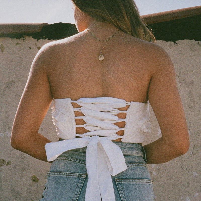 Embroidered White Crop Top