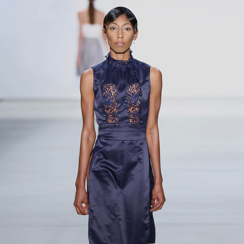 Navy Satin and Lace Dress