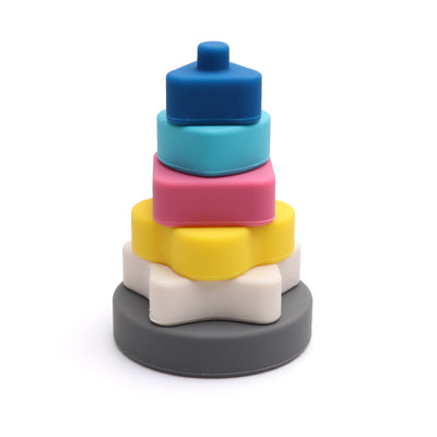 Silicon Geometric Stacker blocks for Kids – Multicolor - Weshine