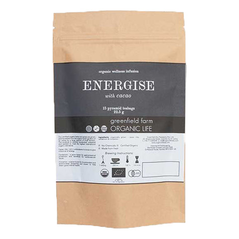 ENERGIES WITH CACAO – 15 NON-WOVEN PYRAMID TEA BAGS-Organic USDA Certified