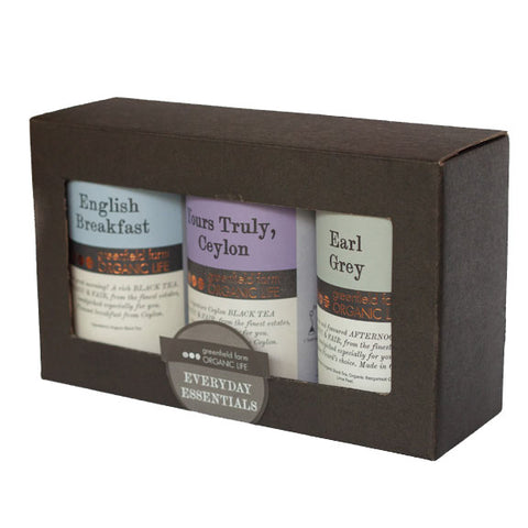 EVERYDAY ESSENTIALS GIFT BOX – 20 NON-WOVEN PYRAMID TEA BAGS-Organic USDA Certified
