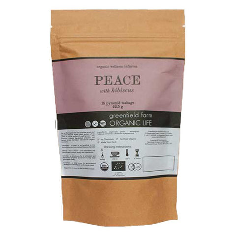 PEACE WITH HIBISCUS – 15 NON-WOVEN PYRAMID TEA BAGS-Organic USDA Certified