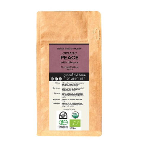 PEACE WITH HIBISCUS – Organic USDA Certified Herbal Infusion Tea [Lemongrass, Hibiscus, Cinnamon, Cardamom, Peppermint ]