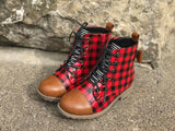 [Buffalo Plaid + Camel] Pipperdoodles Boots W/ Detachable Bows