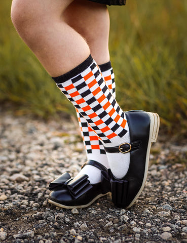 [Black + Orange Checkered] Halloween Tall Socks