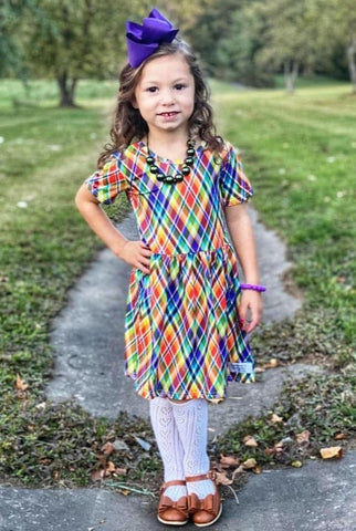 """Rainbow Plaid"" [Basics Collection] Turkey Day Dress"