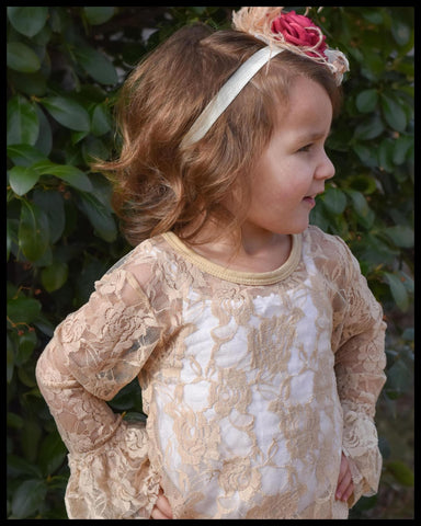[Apricot Lace] Sheer Lace Top w/ Ruffles