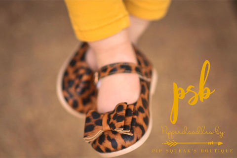 SOLD OUT Pipperdoodles Leopard Bow Shoes