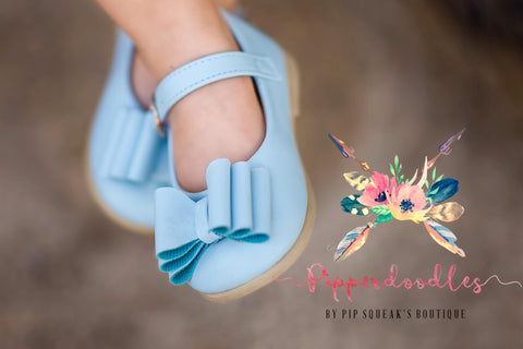 [Light Blue] Pipperdoodles Bow Shoes